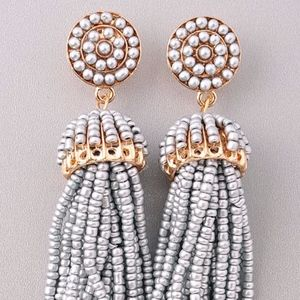 Silver Dazzle Tassel Earrings